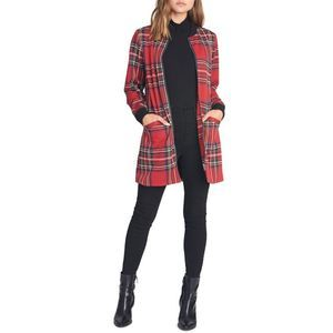 Sanctuary Red Plaid Full Zip City Topper Jacket